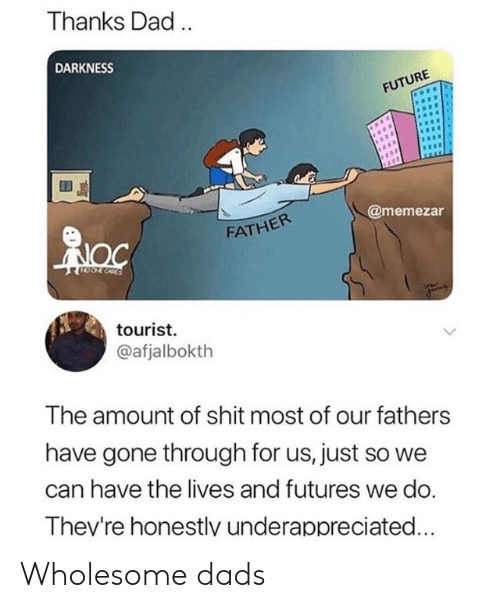 Tourist: Thanks Dad.  DARKNESS  FUTURE  @memezar  FATHER  CORES  tourist  @afjalbokth  The amount of shit most of our fathers  have gone through for us, just so we  can have the lives and futures we do.  Thev're honestlv underappreciated... Wholesome dads