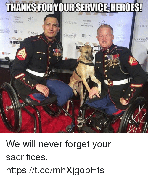 Memes, Heroes, and Never: THANKS FOR YOURSERVICE,HEROES!  VICSARC  NVICT  ICEVS  OUNDATmoN  POUNDATION  PARSONSy  PATRON  PARSONS  COt  SR  FIG We will never forget your sacrifices. https://t.co/mhXjgobHts