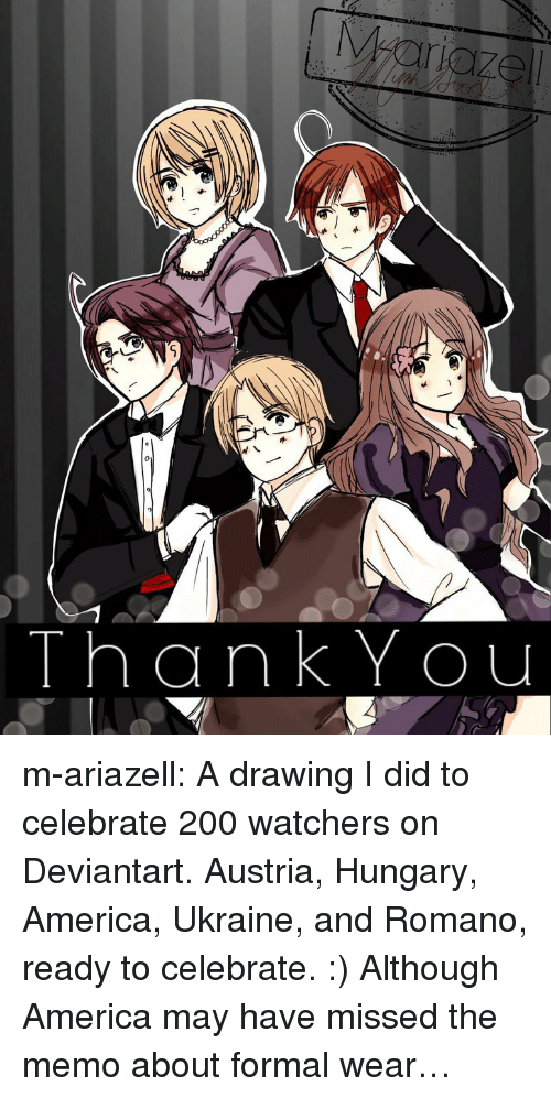 Ukraine: ThankYou m-ariazell: A drawing I did to celebrate 200 watchers on Deviantart. Austria, Hungary, America, Ukraine, and Romano, ready to celebrate. :)  Although America may have missed the memo about formal wear…
