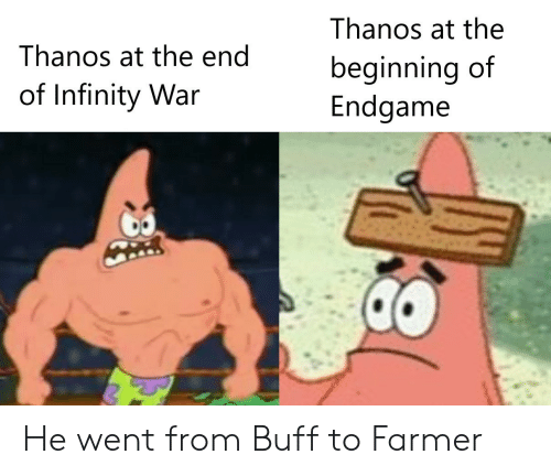 Infinity, Thanos, and War: Thanos at the  Thanos at the end  beginning of  Endgame  of Infinity War He went from Buff to Farmer