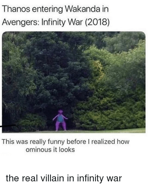 Funny, Avengers, and Infinity: Thanos entering Wakanda in  Avengers: Infinity War (2018)  This was really funny before I realized how  ominous it looks the real villain in infinity war