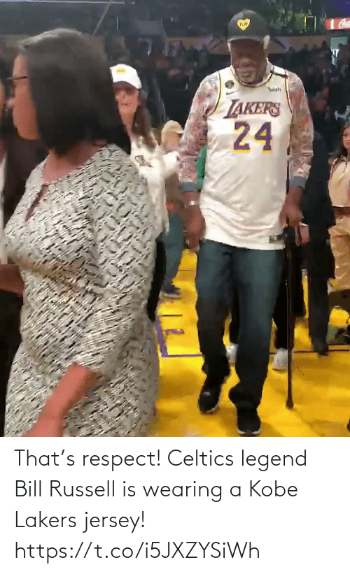 respect: That's respect! Celtics legend Bill Russell is wearing a Kobe Lakers jersey!   https://t.co/i5JXZYSiWh