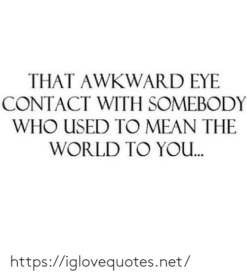 somebody: THAT AWKWARD EYE  CONTACT WITH SOMEBODY  WHO USED TO MEAN THE  WORLD TO YO. https://iglovequotes.net/