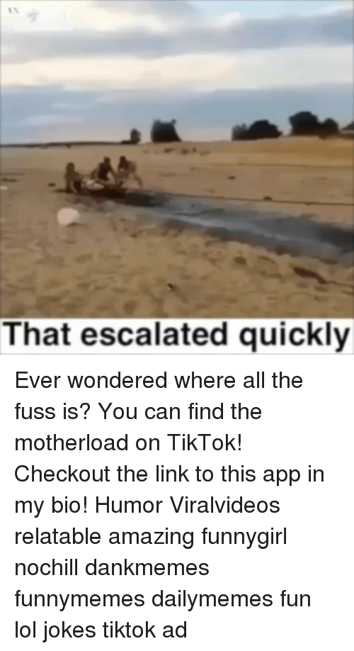 that escalated quickly: That escalated quickly Ever wondered where all the fuss is? You can find the motherload on TikTok! Checkout the link to this app in my bio! Humor Viralvideos relatable amazing funnygirl nochill dankmemes funnymemes dailymemes fun lol jokes tiktok ad