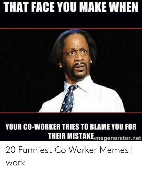 Memes, Work, and Net: THAT FACE YOU MAKE WHEN  YOUR CO-WORKER TRIES TO BLAME YOU FOR  THEIR MISTAKEmegenerator.net 20 Funniest Co Worker Memes | work