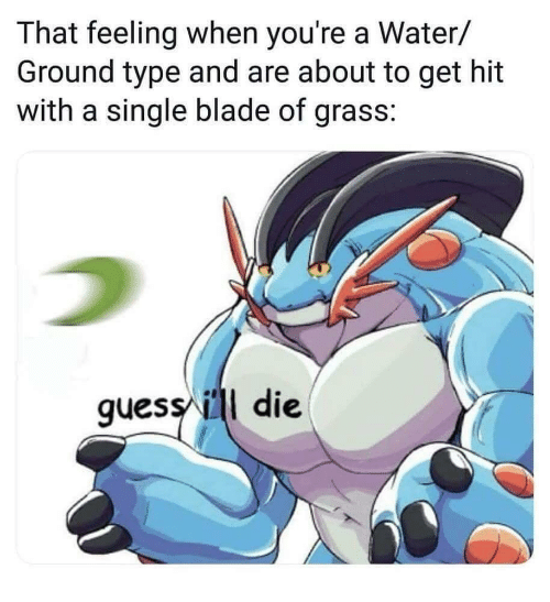Blade, Guess, and Water: That feeling when you're a Water/  Ground type and are about to get hit  with a single blade of grass:  guess ill die