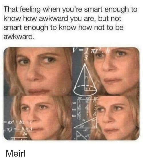 Awkward, That Feeling When, and MeIRL: That feeling when you're smart enough to  know how awkward you are, but not  smart enough to know how not to be  awkward  san  tan  x) Meirl