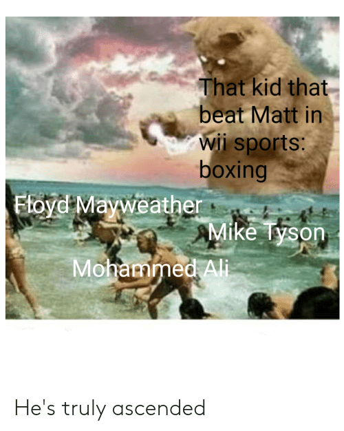 Ali, Boxing, and Mayweather: That kid that  beat Matt in  wii sports:  boxing  Ftoyd Mayweather  Mike Tyson  Mohammed Ali He's truly ascended
