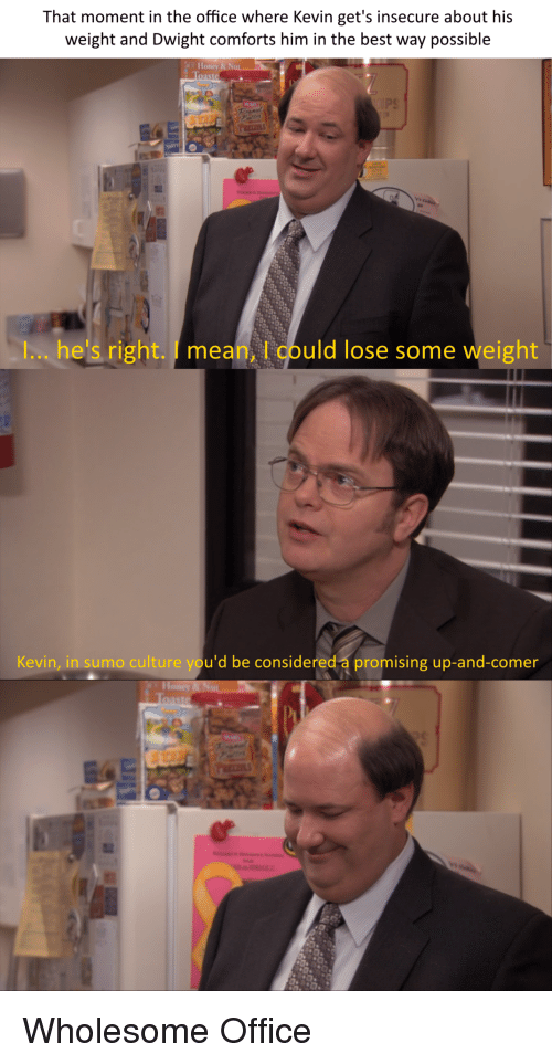 The Office, Best, and Mean: That moment in the office where Kevin get's insecure about his  weight and Dwight comforts him in the best way possible  I... he's right. I mean, l could lose some weight  Kevin, in sumo culture you'd be considered a promising up-and-comer Wholesome Office