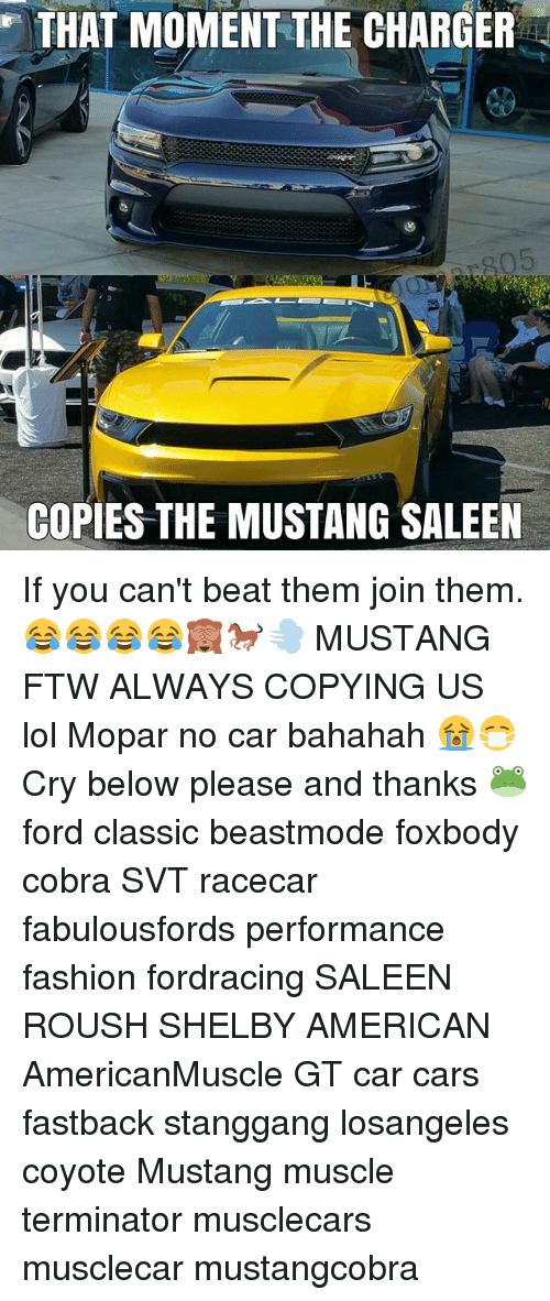 Cars, Fashion, and Ftw: THAT MOMENT THE CHARGER  COPIES THE MUSTANG SALEEN If you can't beat them join them.😂😂😂😂🙈🐎💨 MUSTANG FTW ALWAYS COPYING US lol Mopar no car bahahah🖓😭😷 Cry below please and thanks 🐸 ford classic beastmode foxbody cobra SVT racecar fabulousfords performance fashion fordracing SALEEN ROUSH SHELBY AMERICAN AmericanMuscle GT car cars fastback stanggang losangeles coyote Mustang muscle terminator musclecars musclecar mustangcobra