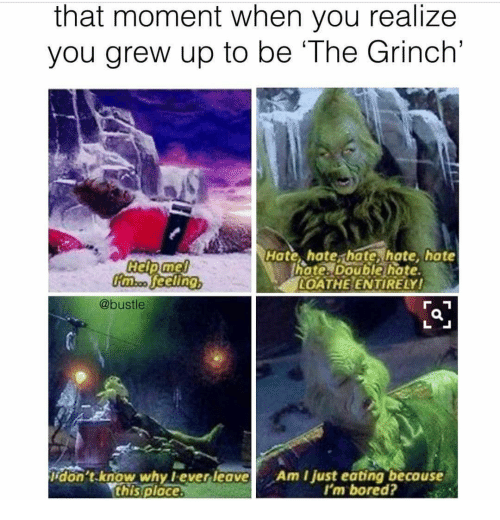 Bored, The Grinch, and The Grinch: that moment when you realize  you grew up to be The Grinch'  Hate, hate hate, hate, hote  hote. Double hate.  OATHE ENTIRELY!  mo feelinQ  @bustle  İdon't.know why l ever leav  this place  Am I just eatingbecause  I'm bored?