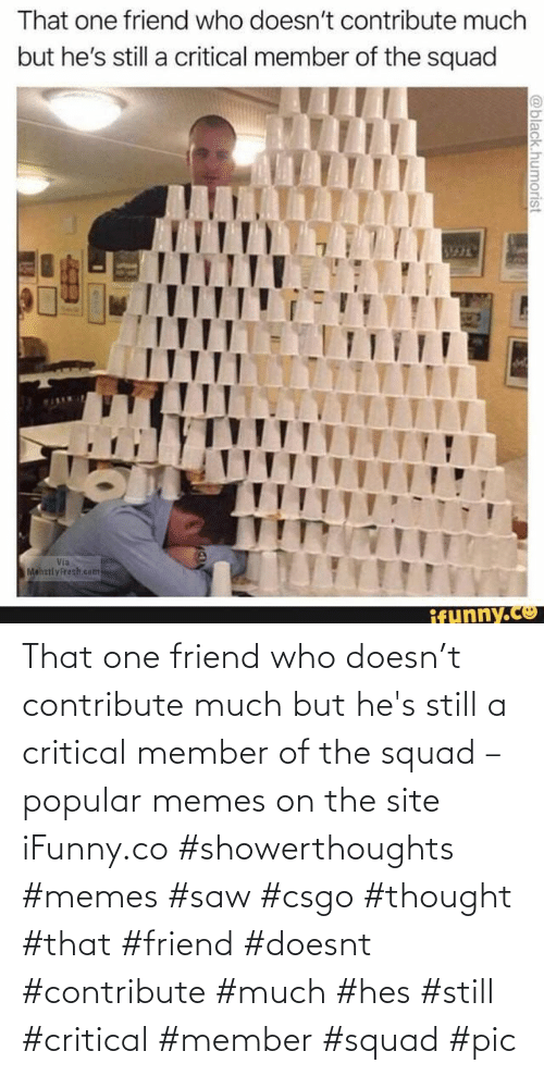 That One Friend: That one friend who doesn't contribute much but he's still a critical member of the squad – popular memes on the site iFunny.co #showerthoughts #memes #saw #csgo #thought #that #friend #doesnt #contribute #much #hes #still #critical #member #squad #pic