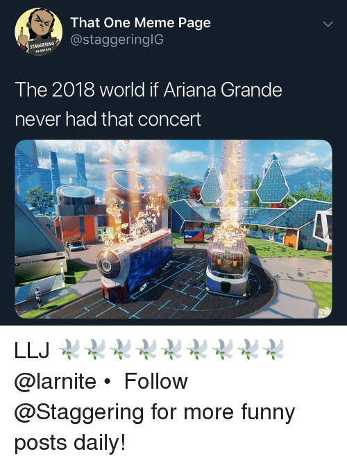Ariana Grande, Funny, and Meme: That One Meme Page  @staggeringlG  STAGGERING  96-291845  The 2018 world if Ariana Grande  never had that concert LLJ 🕊🕊🕊🕊🕊🕊🕊🕊🕊 @larnite • ➫➫➫ Follow @Staggering for more funny posts daily!