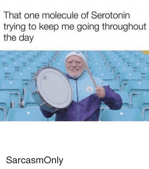 Funny, Memes, and Serotonin: That one molecule of Serotonin  trying to keep me going throughout  the day SarcasmOnly