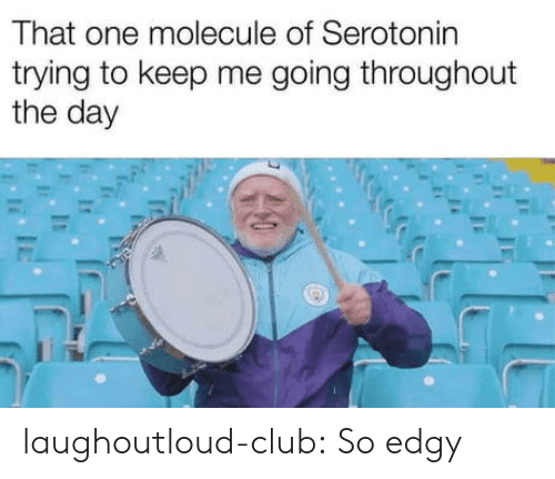 Club, Tumblr, and Blog: That one molecule of Serotonin  trying to keep me going throughout  the day laughoutloud-club:  So edgy
