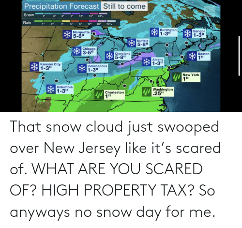 what are: That snow cloud just swooped over New Jersey like it's scared of. WHAT ARE YOU SCARED OF? HIGH PROPERTY TAX? So anyways no snow day for me.