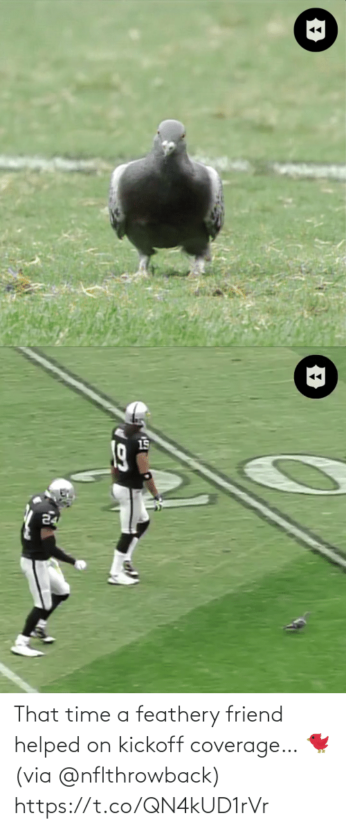 friend: That time a feathery friend helped on kickoff coverage… 🐦 (via @nflthrowback) https://t.co/QN4kUD1rVr
