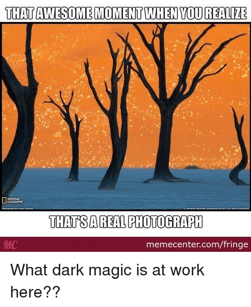 Memes, 🤖, and Dark: THATAWESOME MOMENT WHEN YOU REALIZE  THATSAREAL PHOTOGRAPH  memecenter.com/fringe What dark magic is at work here??