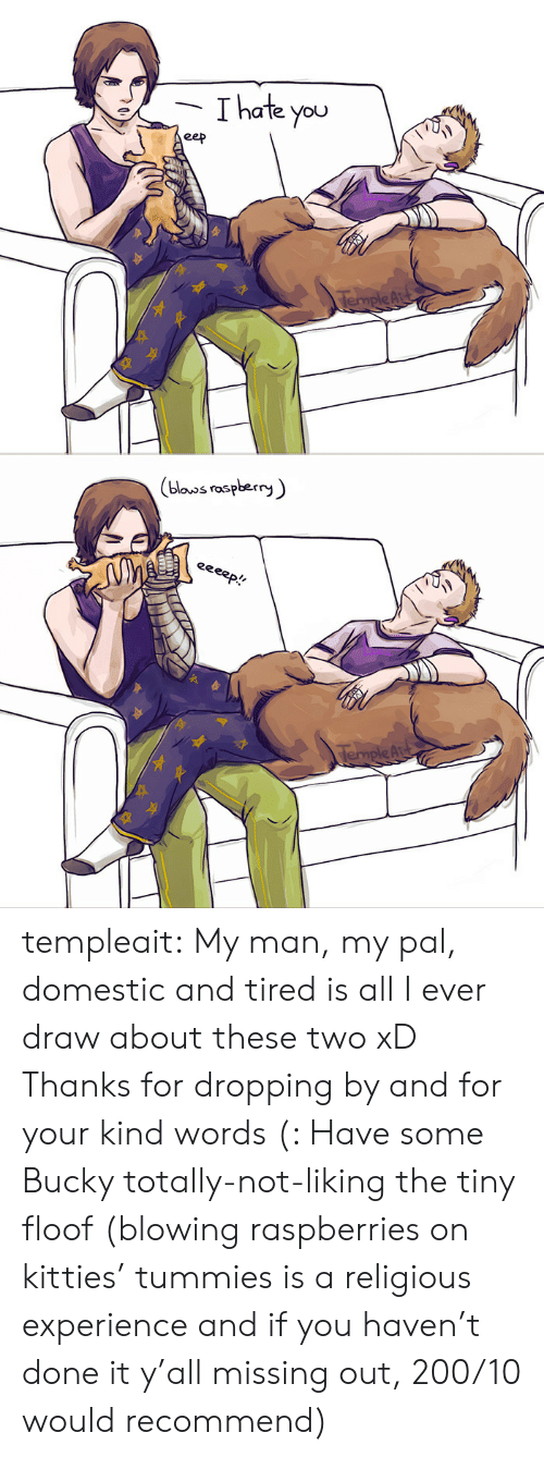 Domestic: Thate you  eep  TempleAr   (blouos raspberry  eeeep!  TempleAu templeait: My man, my pal, domestic and tired is all I ever draw about these two xD Thanks for dropping by and for your kind words (: Have some Bucky totally-not-liking the tiny floof (blowing raspberries on kitties' tummies is a religious experience and if you haven't done it y'all missing out, 200/10 would recommend)