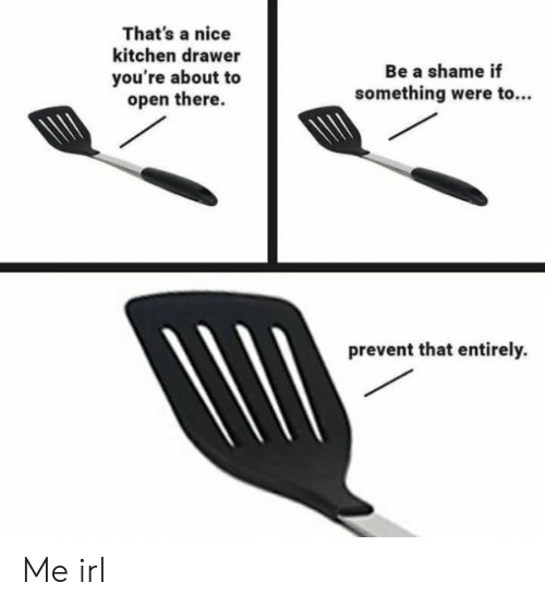 A Shame: That's a nice  kitchen drawer  Be a shame if  you're about to  open there.  something were to..  prevent that entirely. Me irl