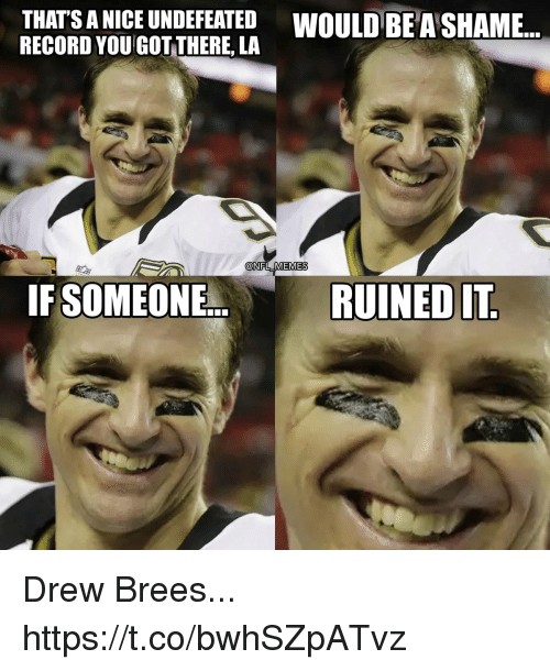 Drew Brees: THATS A NICE UNDEFEATED WOULD BE A SHAME...  RECORD YOU GOT THERE, LA  @NFL MEMES  IF SOMEONE.  RUINED IT Drew Brees... https://t.co/bwhSZpATvz