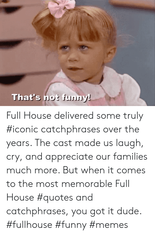 Quotes And: That's not funn Full House delivered some truly #iconic catchphrases over the years. The cast made us laugh, cry, and appreciate our families much more. But when it comes to the most memorable Full House #quotes and catchphrases, you got it dude. #fullhouse #funny #memes