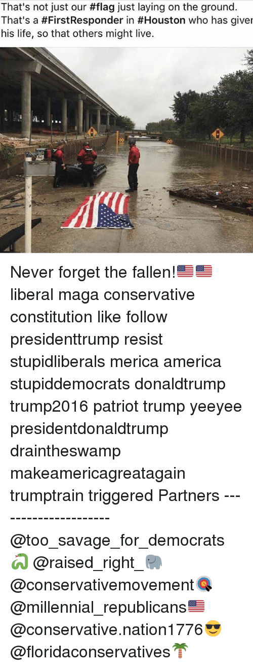 America, Life, and Memes: That's not just our #flag just laying on the ground.  That's a #FirstResponder in #Houston who has given  his life, so that others might live. Never forget the fallen!🇺🇸🇺🇸 liberal maga conservative constitution like follow presidenttrump resist stupidliberals merica america stupiddemocrats donaldtrump trump2016 patriot trump yeeyee presidentdonaldtrump draintheswamp makeamericagreatagain trumptrain triggered Partners --------------------- @too_savage_for_democrats🐍 @raised_right_🐘 @conservativemovement🎯 @millennial_republicans🇺🇸 @conservative.nation1776😎 @floridaconservatives🌴
