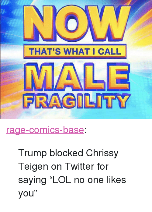 """Rage Comics: THAT'S WHAT I CALL  FRAGILITY <p><a href=""""http://ragecomicsbase.com/post/163418654237/trump-blocked-chrissy-teigen-on-twitter-for-saying"""" class=""""tumblr_blog"""">rage-comics-base</a>:</p>  <blockquote><p>Trump blocked Chrissy Teigen on Twitter for saying """"LOL no one likes you""""</p></blockquote>"""