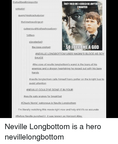 Longbottomed: thatwillbeallmisspotts:  THEY TOLD MEI COULD BE ANYTHING  WANTED  votsalot  quenchiestcactusjuice:  thetimetravelingcat  cuteenoughtoshootyoudown:  148km  cloysterbell:  the-lone-midget  SOIBECAME A GOD  NEVILLE LONGBOTIOM USES NAGINI'S BLOODAS SOY  SAUCE  enemies and a dragon heartstring he rinped out with his bare  hands  #nevillelongbottomcalls himseltharrypotterontheknightbusto  台NEVILLE COULD'VE DONE IT IN FOUR  #nevilleets snakes for breakfast  #Chuck Norris' patronous is Neville Longbottom  I'm literally watching this movie right now and holy shit it's so accurate  #BeforeNevillepunchedi.itwas known asHorizontAlley. Neville Longbottom is a hero nevillelongbottom