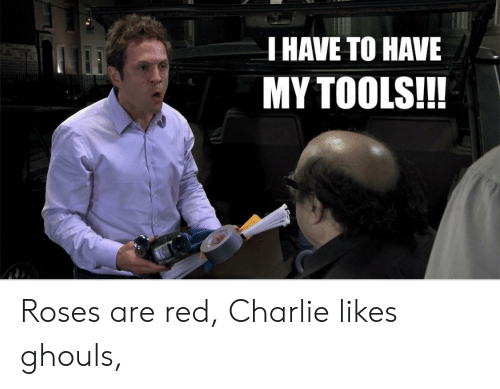 Charlie, Red, and Roses: THAVE TO HAVE  MY TOOLS!!! Roses are red, Charlie likes ghouls,