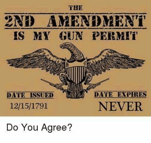 2nd Amendment: THE  2ND AMENDMENT  IS MY GUN PERMI  DATE EXPIRES  NEVER  DATE ISSUED  12/15/1791  Do You Agree?