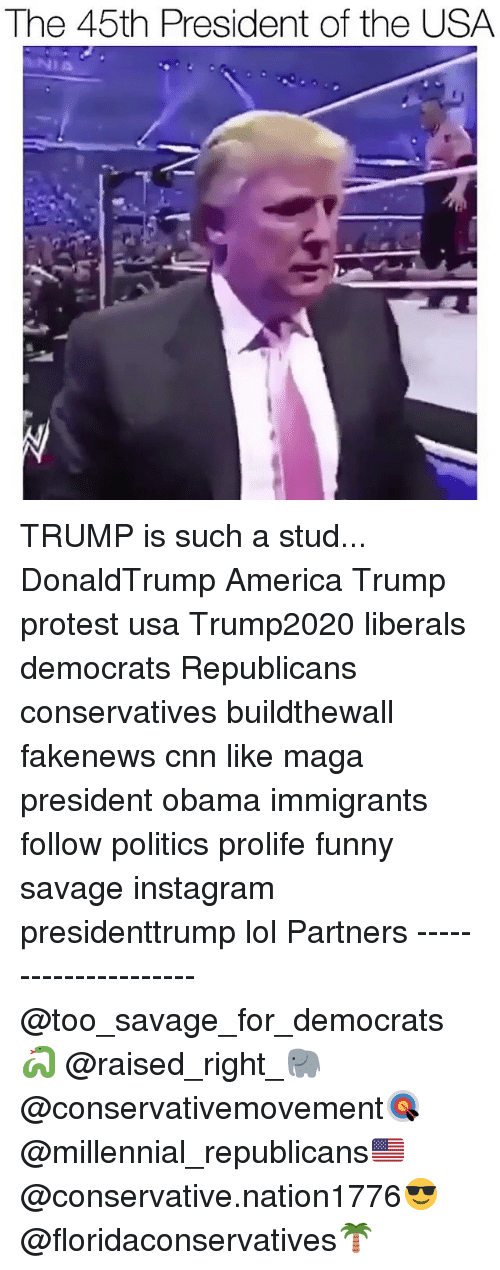 America, cnn.com, and Funny: The 45th President of the USA  NIA TRUMP is such a stud... DonaldTrump America Trump protest usa Trump2020 liberals democrats Republicans conservatives buildthewall fakenews cnn like maga president obama immigrants follow politics prolife funny savage instagram presidenttrump lol Partners --------------------- @too_savage_for_democrats🐍 @raised_right_🐘 @conservativemovement🎯 @millennial_republicans🇺🇸 @conservative.nation1776😎 @floridaconservatives🌴