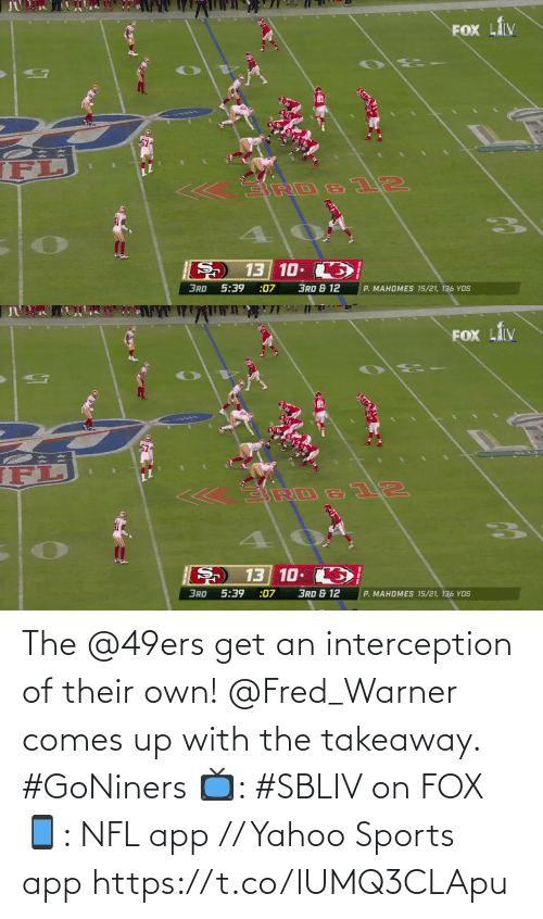 fox: The @49ers get an interception of their own!  @Fred_Warner comes up with the takeaway. #GoNiners  📺: #SBLIV on FOX 📱: NFL app // Yahoo Sports app https://t.co/lUMQ3CLApu