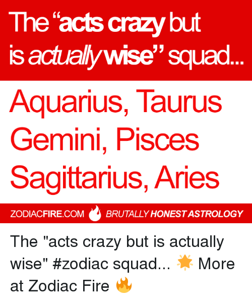 """Crazy, Fire, and Squad: The acts crazy but  is actually wise"""" squad.  AquariuS, TaurusS  Gemini, Pisces  Sagittarius, Aries  0  ZODIACFIRE.COM  BRUTALLY HONEST ASTROLOGY The """"acts crazy but is actually wise"""" #zodiac squad... 🌟  More at Zodiac Fire 🔥"""
