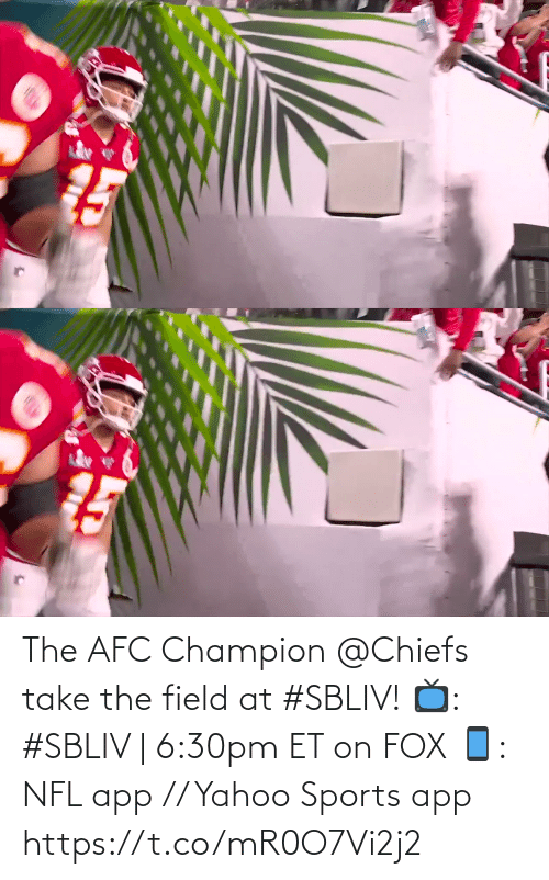 fox: The AFC Champion @Chiefs take the field at #SBLIV!  📺: #SBLIV | 6:30pm ET on FOX 📱: NFL app // Yahoo Sports app https://t.co/mR0O7Vi2j2
