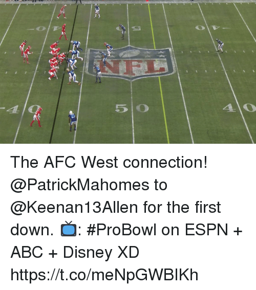 probowl: The AFC West connection!  @PatrickMahomes to @Keenan13Allen for the first down.  📺: #ProBowl on ESPN + ABC + Disney XD https://t.co/meNpGWBIKh