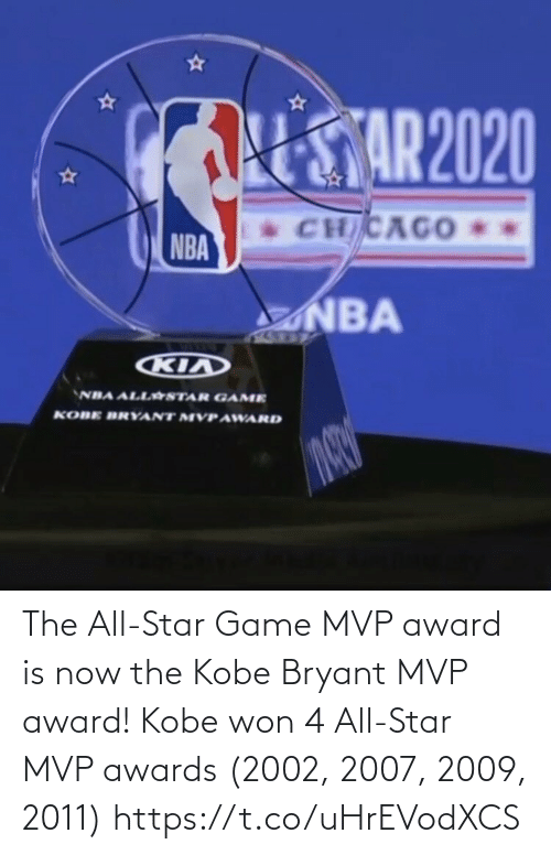 award: The All-Star Game MVP award is now the Kobe Bryant MVP award!   Kobe won 4 All-Star MVP awards (2002, 2007, 2009, 2011) https://t.co/uHrEVodXCS
