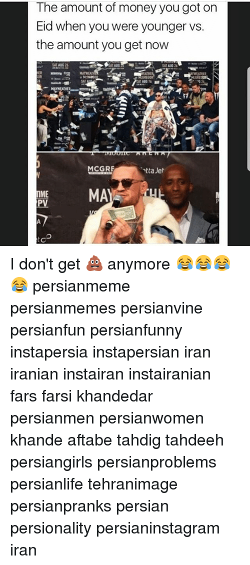 Memes, Money, and Iran: The amount of money you got on  Eid when you were younger vs.  the amount you get now  MAYWEAT  MCGRE  PMA  ME I don't get 💩 anymore 😂😂😂😂 persianmeme persianmemes persianvine persianfun persianfunny instapersia instapersian iran iranian instairan instairanian fars farsi khandedar persianmen persianwomen khande aftabe tahdig tahdeeh persiangirls persianproblems persianlife tehranimage persianpranks persian persionality persianinstagram iran