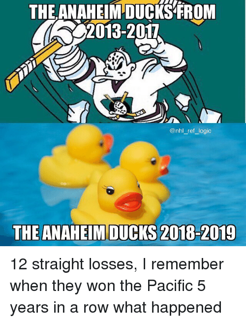 Losses: THE ANAHEIM DUCKS FROM  2013-2017  @nhl_ref logic  THE ANAHEIM DUCKS 2018-2019 12 straight losses, I remember when they won the Pacific 5 years in a row what happened