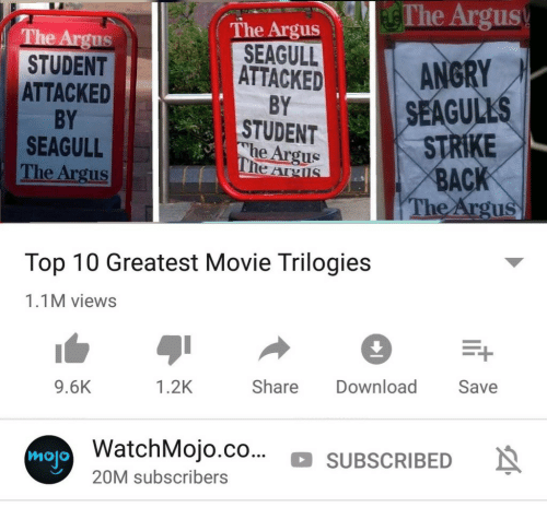 Movie, Back, and Strike Back: The Argus  The Argus  SEAGULLANGRY  STUDENT  ATTACKED  BY  SEAGULL  The Argus  ATTACKED  BY  STUDENT  he Argus  SEAGUL  STRIKE  BACK  The Argu  Top 10 Greatest Movie Trilogies  1.1M views  9.6K  1.2K  Share Download Save  atchMojo.co... SUBSCRIBEDN  mojo  20M subscribers
