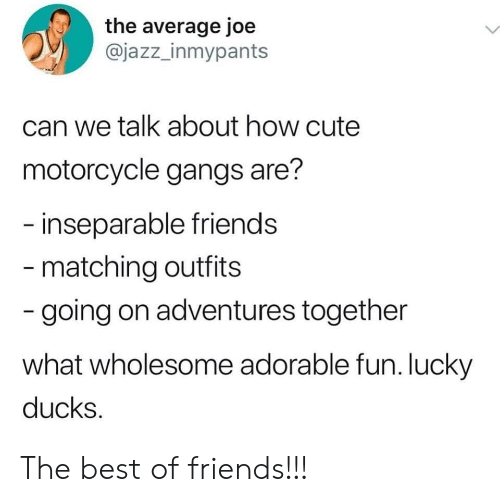 Cute, Friends, and Best: the average joe  @jazz_inmypants  can we talk about how cute  motorcycle gangs are?  inseparable friends  matching outfits  going on adventures together  what wholesome adorable fun. lucky  ducks The best of friends!!!