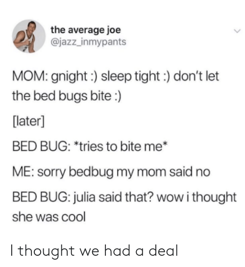 Me Sorry: the average joe  @jazz_inmypants  MOM: gnight:) sleep tight) don't let  the bed bugs bite :)  [later]  BED BUG: *tries to bite me*  ME: sorry bedbug my mom said no  BED BUG: julia said that? wow i thought  she was cool I thought we had a deal
