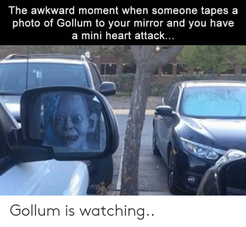 Awkward, Heart, and Mirror: The awkward moment when someone tapes a  photo of Gollum to your mirror and you have  a mini heart attack... Gollum is watching..
