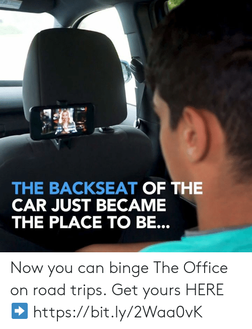 Dank, The Office, and Office: THE BACKSEAT OF THE  CAR JUST BECAME  THE PLACE TO BE. Now you can binge The Office on road trips. Get yours HERE ➡️ https://bit.ly/2Waa0vK