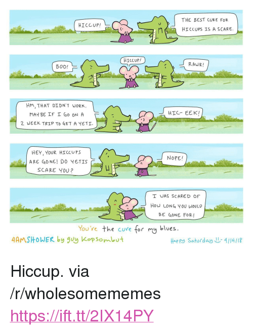 "hiccups: THE BEST CURE FOR  Hiccup! L-  HICCUPS IS A SCARE  RAWR!  B00!  dr  HM, THAT DIDN'T WORK.  MAY BE IF I Go ON A  2 WEEK TRIP TO GET A YETI.  HIC- EEK!  HEY, YOUR HICCUPS  ARE GONE! DO YETIS  SCARE Y00?  NOPE!  I WAS SCARED OF  HOW LONG YOU WOULD  BE GONE FOR!  You're the cure for mg blues.  4AMSHOWER by guy Kopsombut  Hap Ry Saturday  4/14/18 <p>Hiccup. via /r/wholesomememes <a href=""https://ift.tt/2IX14PY"">https://ift.tt/2IX14PY</a></p>"