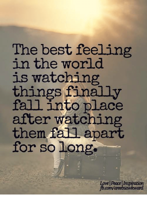 The Best Feeling In The World Is Watching Things Finally Fall Into