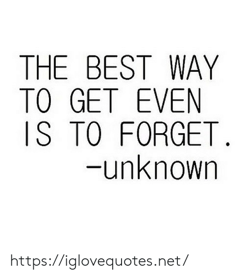 Best, Net, and Unknown: THE BEST WAY  TO GET EVEN  IS TO FORGET  unknown https://iglovequotes.net/