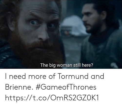 Memes, 🤖, and Gameofthrones: The big woman still here? I need more of Tormund and Brienne. #GameofThrones https://t.co/OmRS2GZ0K1