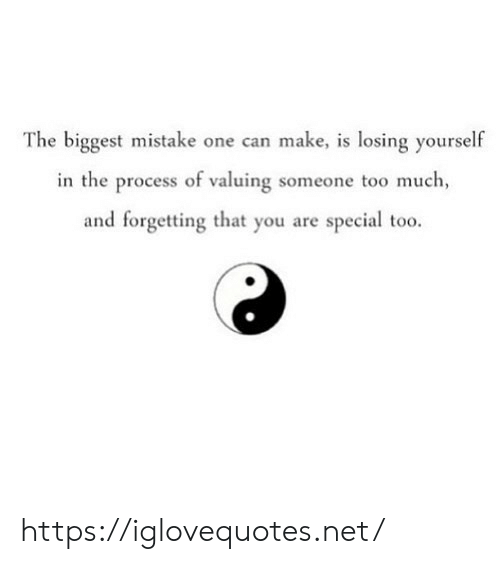mistake: The biggest mistake one can make, is losing yourself  in the process of valuing someone to0 much,  and forgetting that you are special too. https://iglovequotes.net/