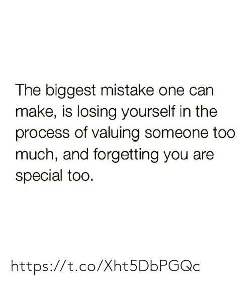 mistake: The biggest mistake one can  make, is losing yourself in the  process of valuing someone too  much, and forgetting you are  special too. https://t.co/Xht5DbPGQc